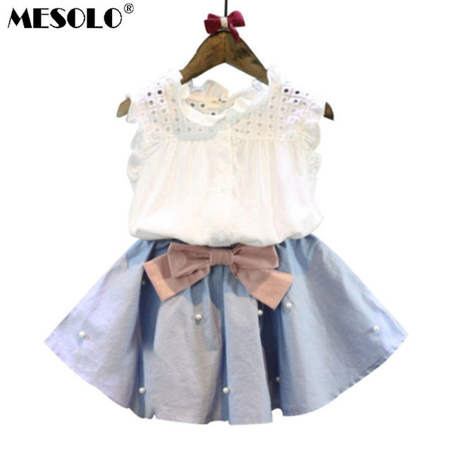 5379523cf79ad 2-8 Years Kids Clothes for Girls The Bow Skirt and Lace Top Summer Suit  Korean Style Children's Clothing Sets Baby Toddler Set