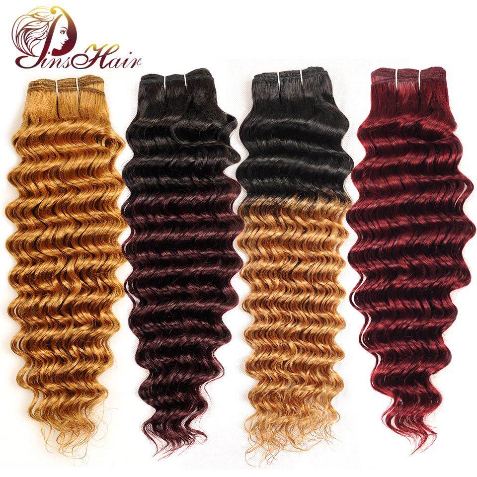 Red Burgundy Bundles 1 PCS Ombre Blonde Deep Wave Malaysian Hair Weave Bundle Pinshair 100 Human Hair Ombre Thick Bundle Nonremy