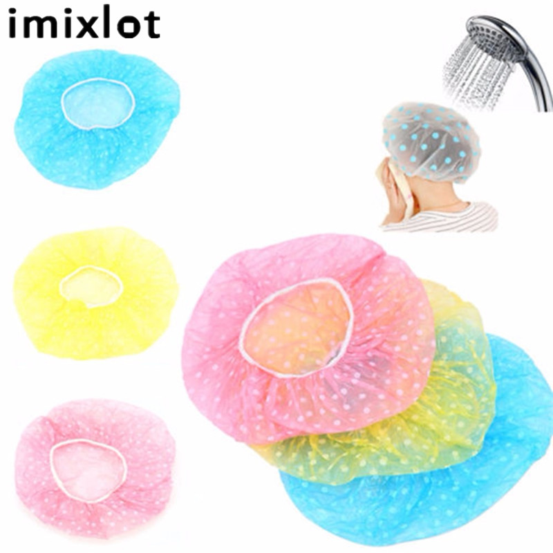 Imixlot 3 Pcs Bathroom Accessories Waterproof Shower Props Elastic Band Hat Bath Caps Cute Cartoon Shower Hats