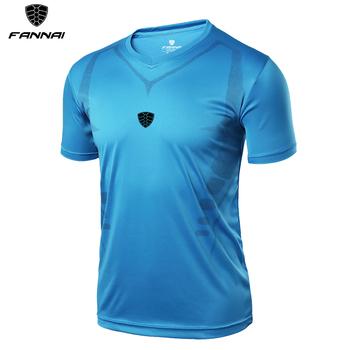 Koszulki z krótkim rękawem dla mężczyzn lato topy Slim Fit koszula z krótkim rękawem szybkie suche męskie koszulki z krótkim rękawem koszulki piłkarskie odzież do biegania odzież sportowa tanie i dobre opinie FANNAI Poliester Piłka nożna Pasuje mniejszy niż zwykle proszę sprawdzić ten sklep jest dobór informacji Sprężone