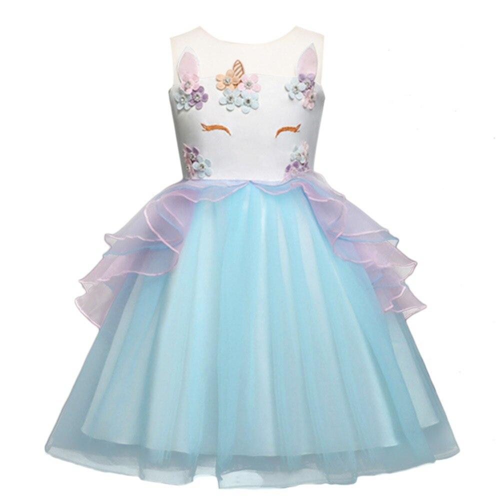 Baby Kid Girls Unicorn Fancy Cosplay Wedding Flower Girl Dress Kid Birthday Party Photo Dresses Tutu Ball Princess Dress 2 7Y