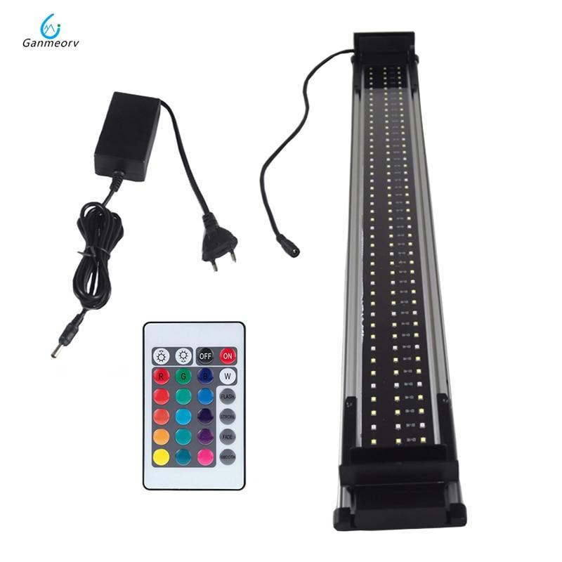 80 ~ 100cm LED pour Aquarium lumière de réservoir de poissons pour le décor d'éclairage d'aquarium 30W RGB barre de LED à distance allume la lampe avec le bracelet extensible