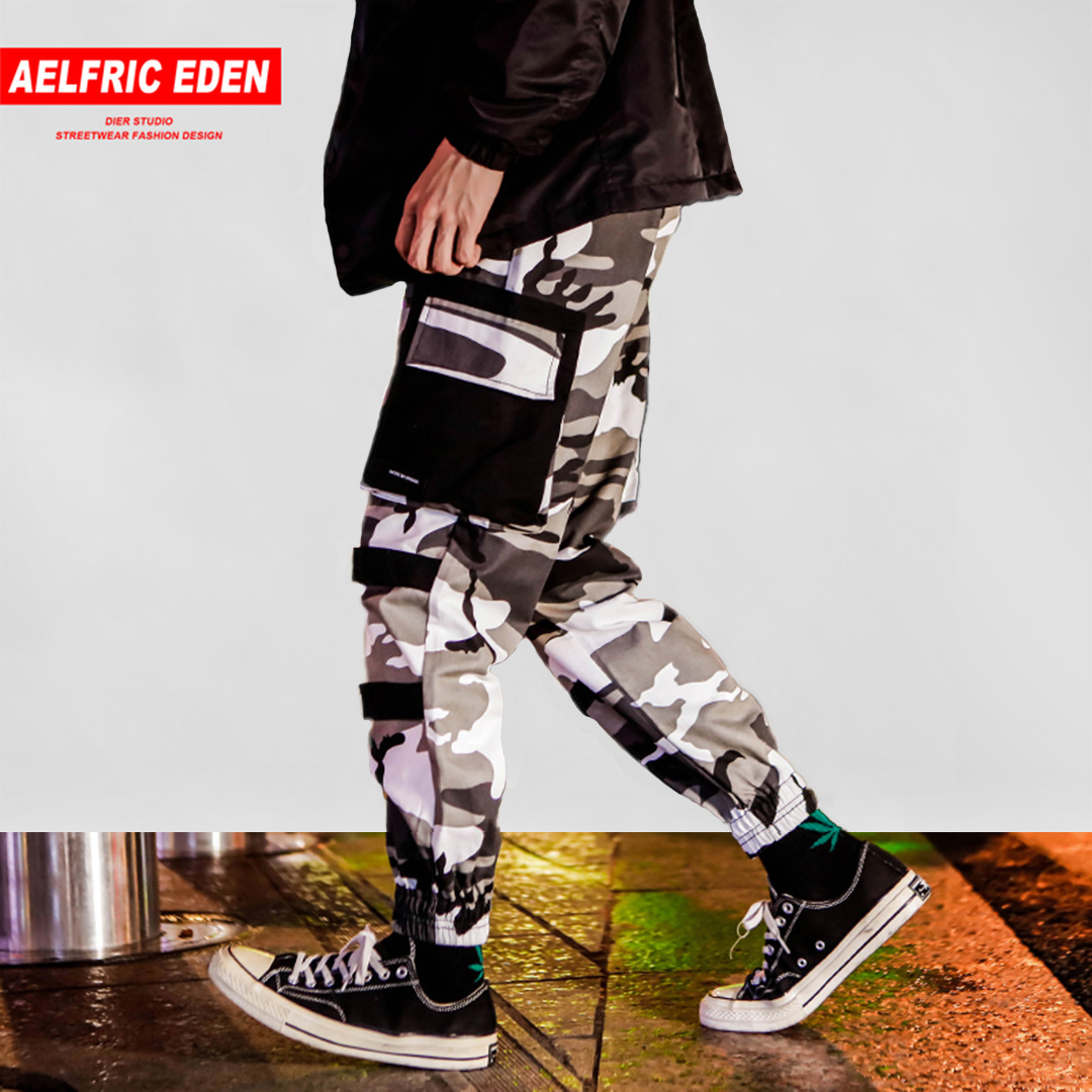 Aelfric Eden Mens Fashion Casual Cargo Pants Streetwear 2018 Camouflage Hip Hop Joggers High Street Military Male Trousers UA13