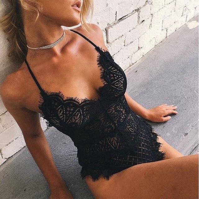 Sexy cuello en V profundo pestañas encaje cuerpo media Lencería Bodysuit transparente Sexy Hollow Out Bodysuit Delgado
