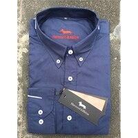 Classic Cotton Brand Men's Social Business Dress Shirt Harmont&Blain Best Selling Long sleeve camisas shirts Blain for men M XXL