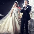 2016 Очаровательная Бальное платье Белое Свадебное Платье Лодка Шеи Cap Рукавом Бисером Часовня Поезд одеяние де свадебная