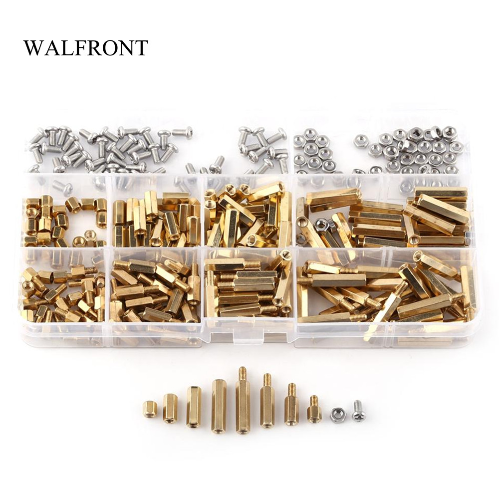 Walfront 250pcs Box M2 M3 Male Female Standoffs Nylon Spacer Hex 120pcs Copper Silver Brass Pillars Standoff Circuit Board Pcb Nut 300pcs Assortment Kit Column Motherboard