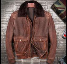 Envío gratis. Chaquetas de piel de vaca gruesa cálidas de invierno de marca para hombre, chaqueta vintage de cuero genuino para hombre. Abrigo clásico de talla grande. Calidad