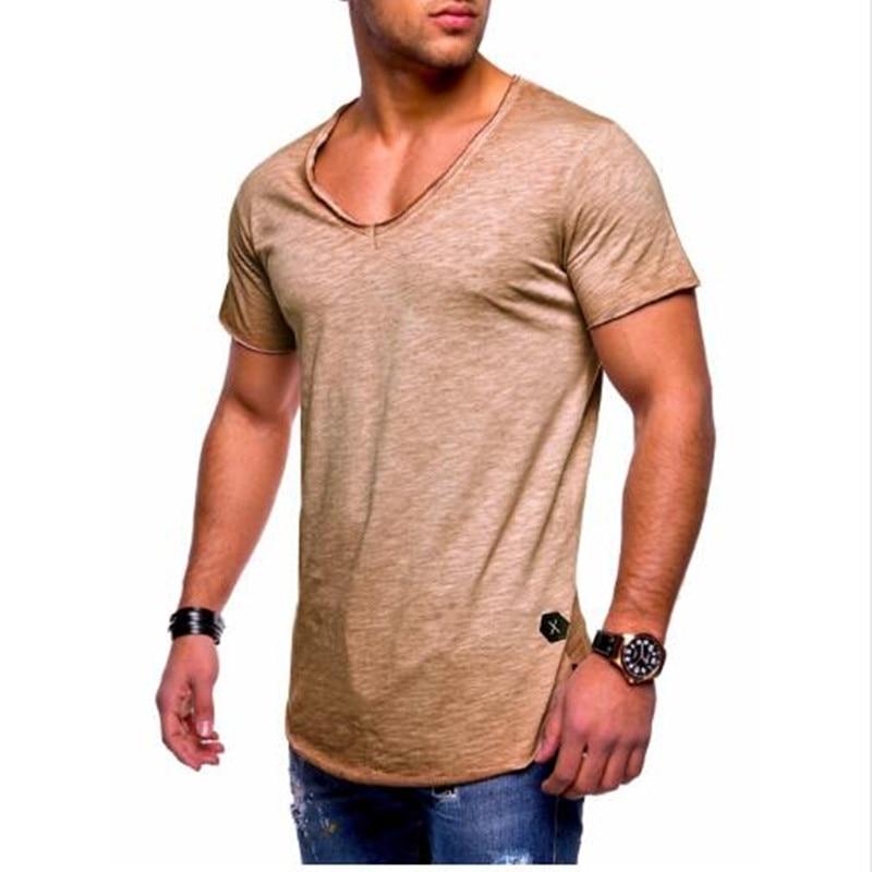 A nova V profundo collar-manga curta T-shirt dos homens T-shirt de emagrecimento emagrecimento dos homens T-shirt verão casual M-3XL