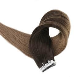 Полный глянцевая лента на волосы коричневые корни балаяж цвет Remy натуральные волосы 20 штук 50 г посылка красочные волосы Cabelo Humano Em