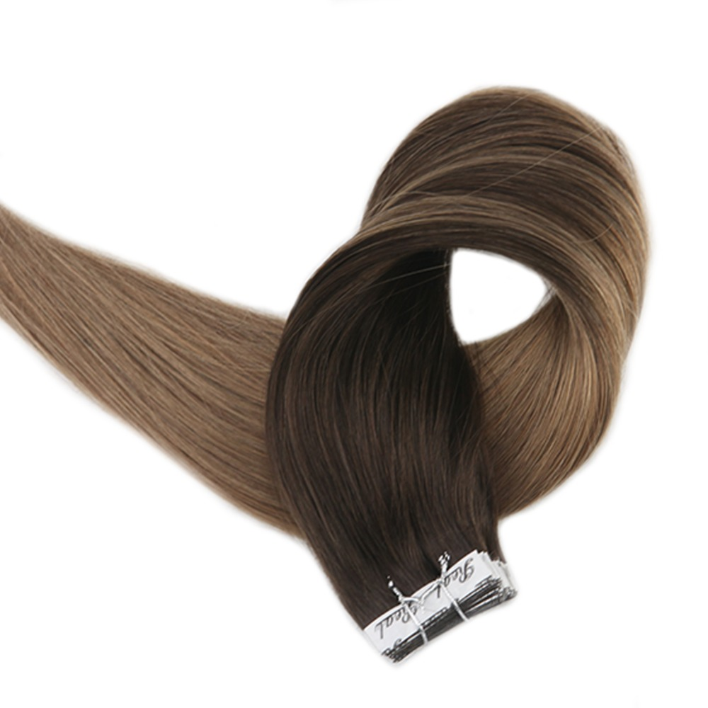 Full Shine Tape on Hair Color Brown Root Ombre Balayage Real Remy Human Hair 20 Pieces 50 Grams Per Package Colorful Hair