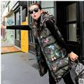 Fashion Long Section Womens Winter And Autumn Camouflage Koren Sleeveless  Down Jacket Hooded Waistcoat Cotton Vest M/2Xl J457