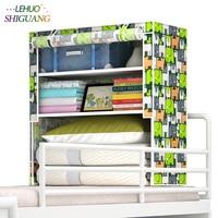 Étudiants en lit Armoire Non-tissé En Acier cadre renforcement Permanent De Stockage Organisateur Amovible Vêtements Placard meubles