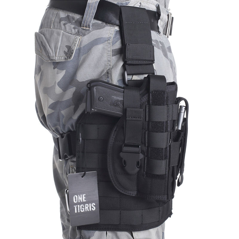 OneTigris Tactical Gun <font><b>Holster</b></font> <font><b>Molle</b></font> Modular Pistol <font><b>Holster</b></font> with Magazine Pouch for Right Handed Shooters <font><b>1911</b></font> 45 92 96 Glock image