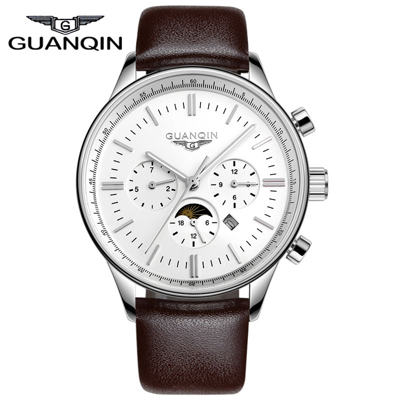 ФОТО High Quality Brand Watches GUANQIN Men Luxury Mutilfuctional Sports Watches Leather Strap 100m Waterproof relogio relojes