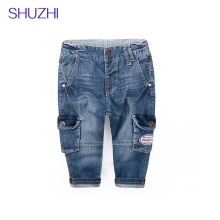 SHUZHI Best Quality Boys Girls Jeans Fashion Kids Pockets Denim Long Pants Jeans Kids Trousers Children Pants infant Clothes 2-6T