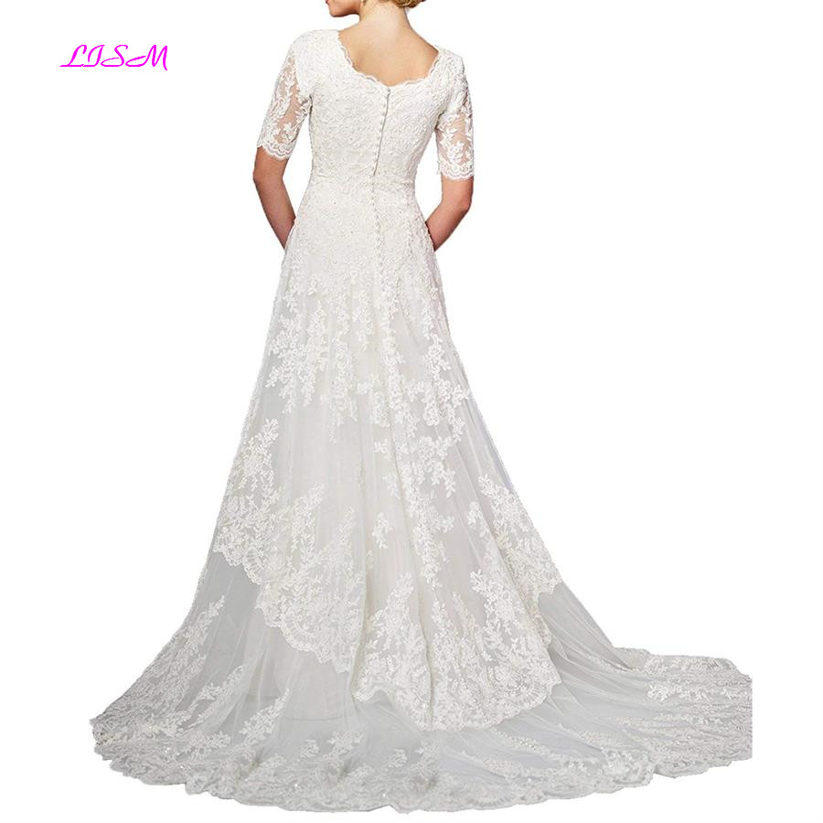Modest A-Line Lace Wedding Dress for Bride Half Sleeves Tulle Wedding Dresses Long Appliques Bridal Gowns robe de mariee 2019