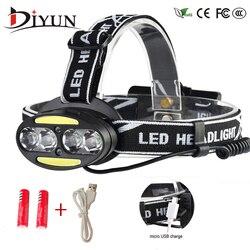 Faro 30000 Lumen 4 * XM-L T6 + 2 * COB + 2 * rojo LED cabeza de la lámpara de la linterna antorcha Lanterna con cargador de baterías