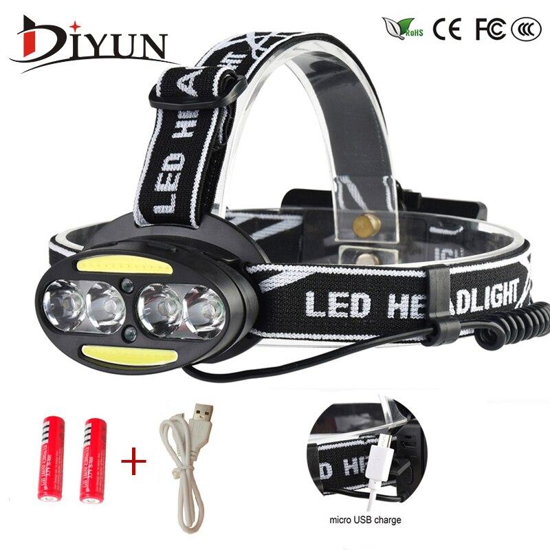 Headlight 30000 Lumen headlamp 4* XM-L T6 +2*COB+2*Red LED Head Lamp Flashlight Torch Lanterna with batteries charger r3 2led super bright mini headlamp headlight flashlight torch lamp 4 models
