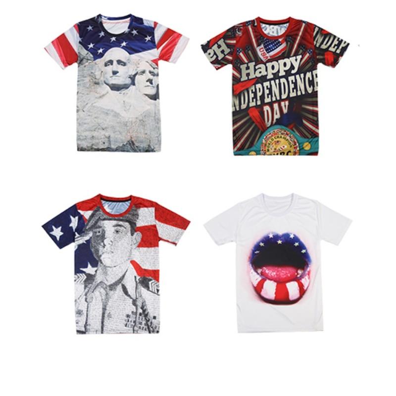Men Summer Running T-shirts Independence Day Theme 3d Print Short Sleeve Sports Wear Men Shirts Outdoor