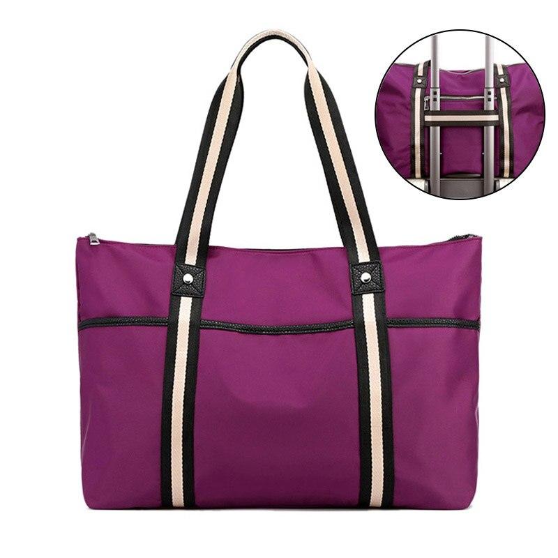 Women's Travel Bags Large Capacity Duffle Bags Nylon Multifunctional Portable Female Weekend Stripe Fitness Tote Bag Hot XA650WB