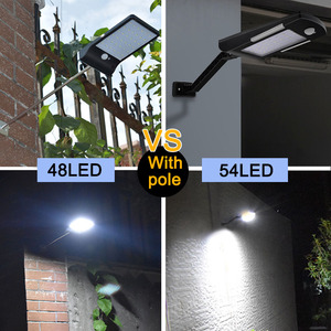 Image 3 - 450Lumens 48 LED Solar Light Three Modes Black White Waterproof Outdoor Garden Wall Fence Lamp With Mounting Pole Or Not