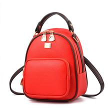 2018 New Leather Small Women Backpacks Zipper Shoulder Bag Female Phone Bags Lady Portable Backpack for Girls Casual Style women backpacks personality modeling hit the color of the small female backpack multi bag casual genuine leather shoulder bags