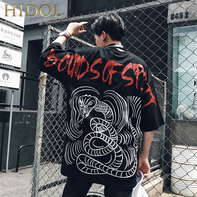 Plus Oversize Splice   T  -  shirt   Animal Snake Print   T     shirt   Hip Hop Streetwear 2018 Summer Short Tshirt Men Brand Clothing Swag Tee