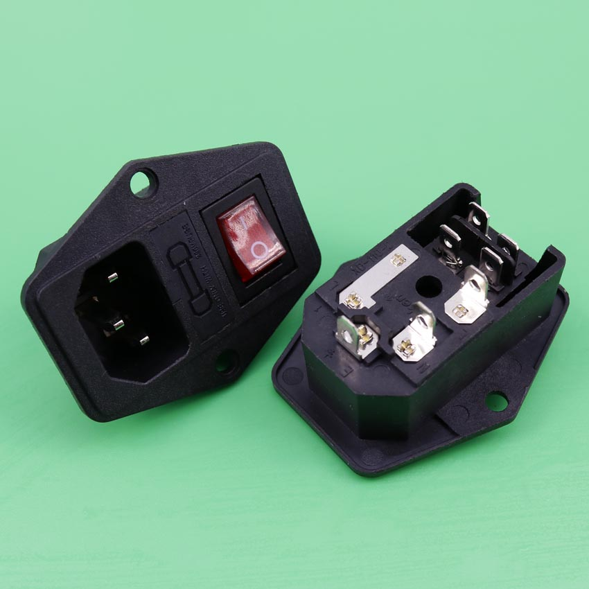 YuXi AC Power Cord Inlet Socket Receptacle Connector with Fuse Holder Rocker Switch IEC320 C14 CCC CEFor Audio DIY yuxi new two way socket iec320 c14 inlet c13 outlet electrical socket industrial plug power rocker socket connector 10a 250v