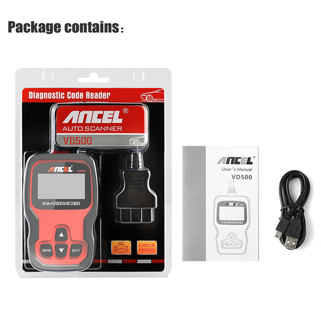 Ancel VD500 OBD2 Scanner Car Diagnostics Full System Individual Scan Airbag ABS Oil EPB OBD 2 Diagnostic Automotive Scanner Tool