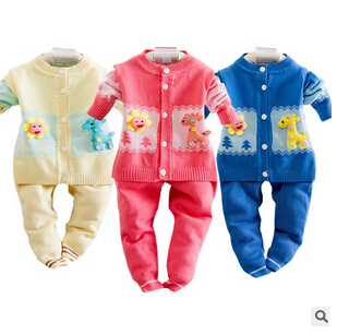 2016 New Fall Winter Clothing Sets Baby Girls Fashion Palm Patchwork Velvet Sweater Suit Kids Sports Clothes Twinset
