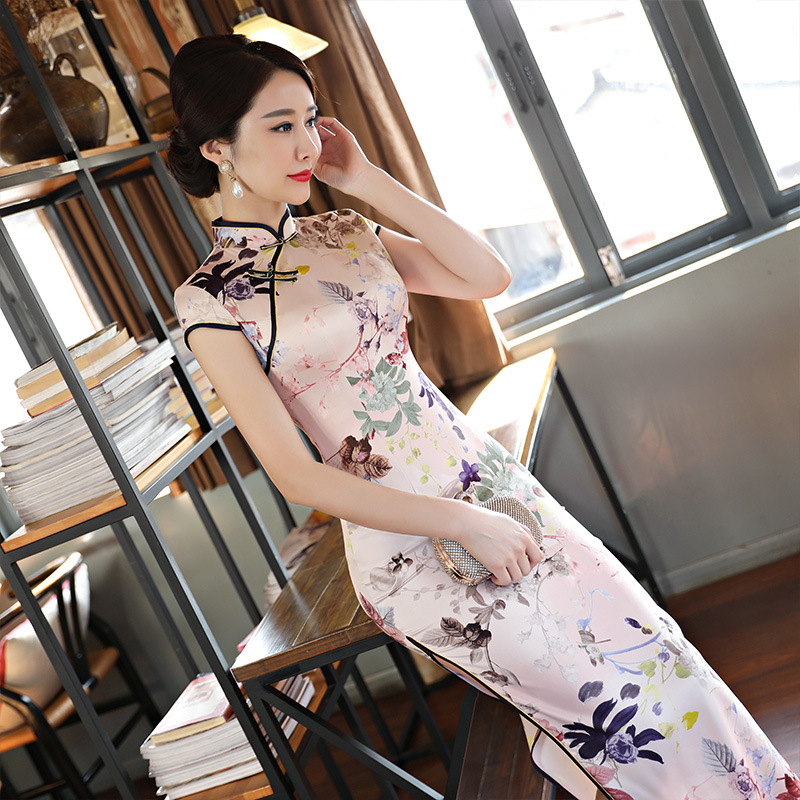 ONTFIHS 2018 New Short Sleeve Long Dress Qipao Silk Chinese Dress Chinese Style Elegant Cheongsam Dress 2017 autumn chinese style girl dress cotton short sleeve chinese cheongsam for kids baby girls qipao girls clothes