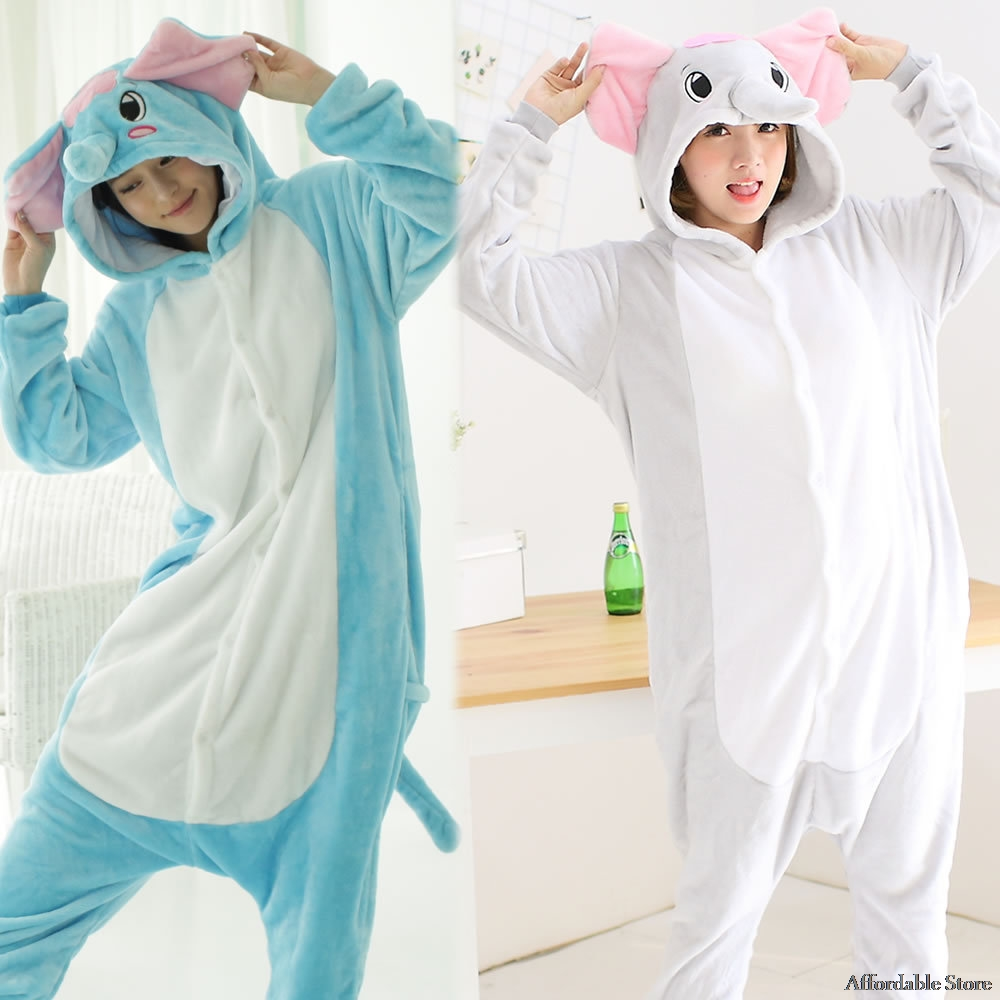 Flamenco conjoined cartoon blue elephant autumn and winter long sleeves coral men and women pajamas gray elephant cosplay