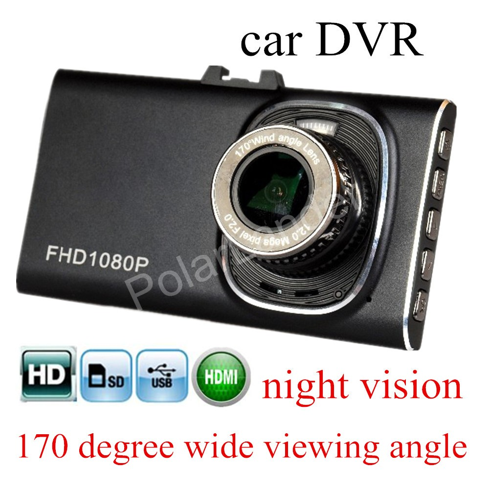 new arrival Full HD 170 degree wide viewing angle 3 inch screen night vision Car Camera G-sensor DVR dash cam motion detection