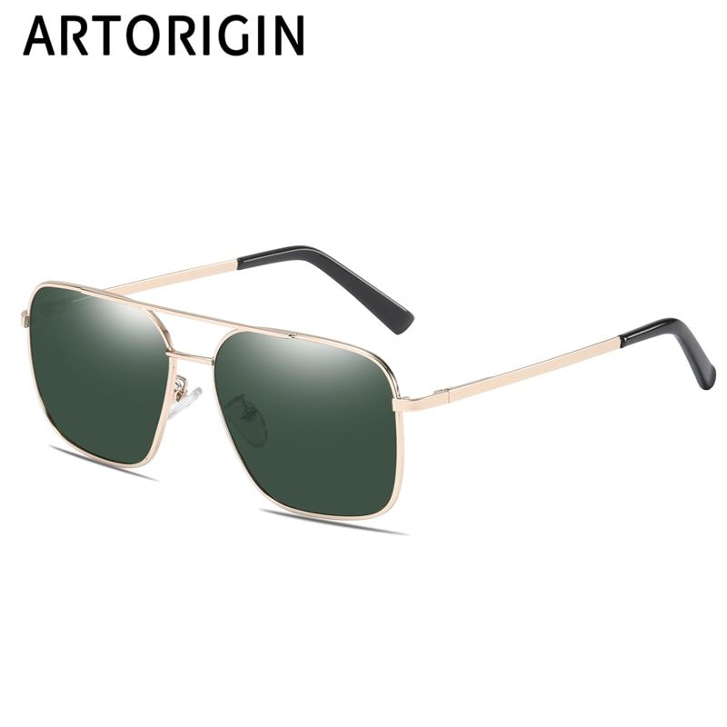 Vintage Sunglasses Men Polarized Driving Glasses Spring Legs Rectangle Metal Frames Fromal Daddy's Gift Sun Glasses UV400 266053