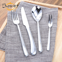 L Hopan Stainless Steel Dinnerware Set S Shape Curve Handle Table Spoon Fork Knife Beef Pizza