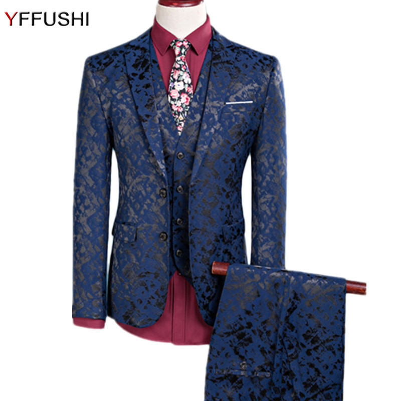 YFFUSHI 2018 Homens Terno Marinho Um Botão Floral 3 Peças de Jacquard de Moda Smoking Ternos de Casamento Para Homens Slim Fit