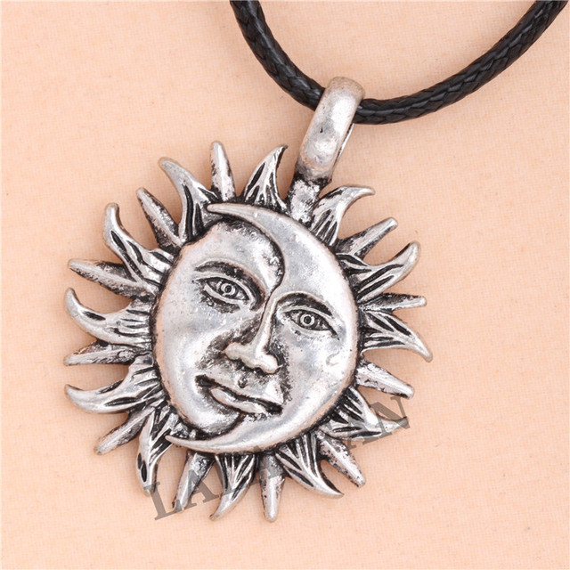 Antique silver sun moon face pendant necklace xl169 in pendant antique silver sun moon face pendant necklace xl169 mozeypictures Image collections
