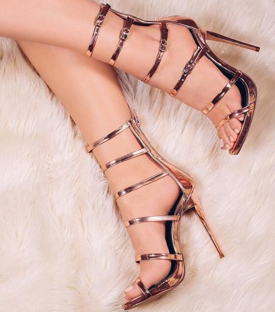 New Fashion Rose Gold Leather Buckles Women Sexy Sandal Cutout Style Ladies High Heels Zipper Back Female Stiletto Heels Size 42New Fashion Rose Gold Leather Buckles Women Sexy Sandal Cutout Style Ladies High Heels Zipper Back Female Stiletto Heels Size 42