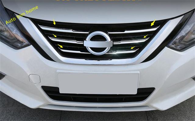 Lapetus Stainless Steel Front Middle Grille Grill Strip Frame Cover Trim 6 Pcs For Nissan Altima Teana 2016 2017 2018 Exterior