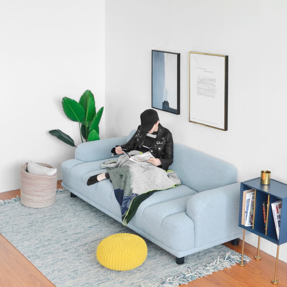 InYard original] wave three people sofa / fabric solid wood sofa ...