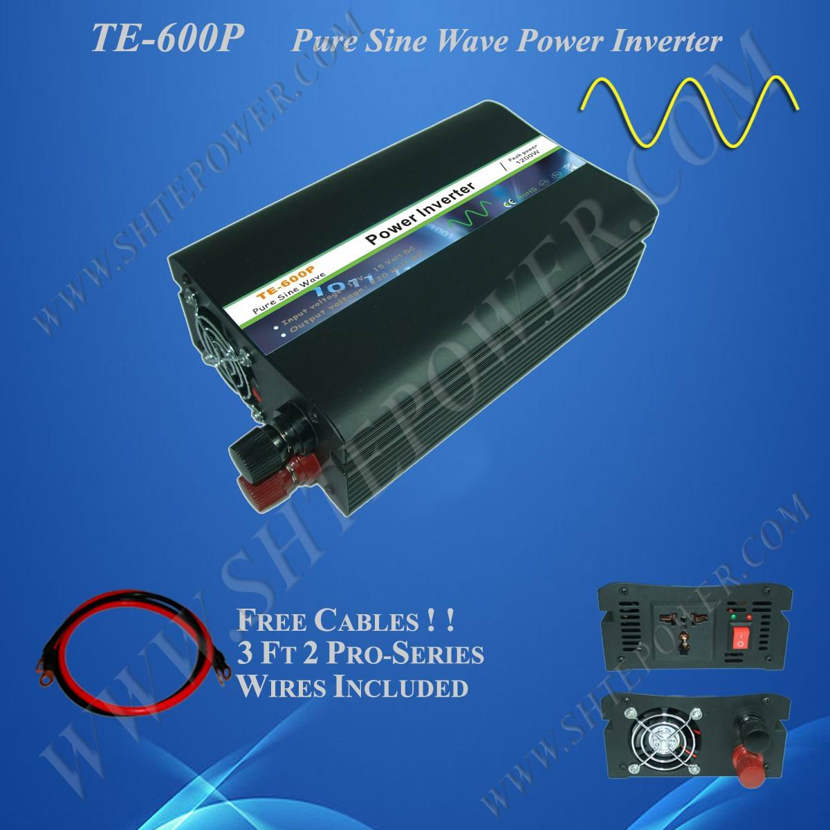 power inverter dc 12v ac 110v 600w pure sine inverter