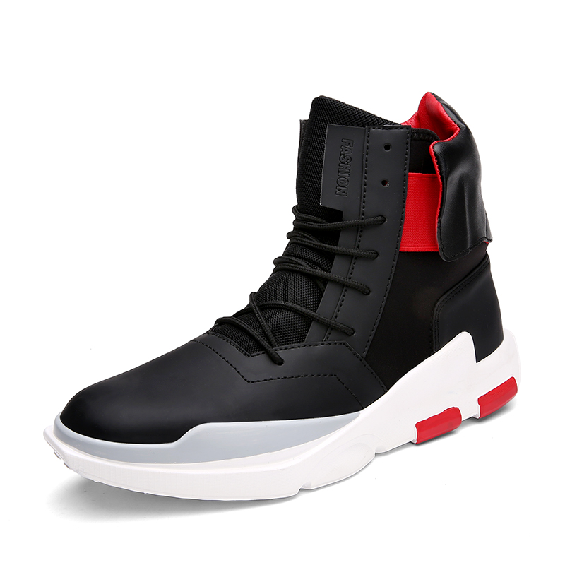 New Fashion High Top Casual Shoes For Men PU Leather Lace Up Red White Black Color Mens Casual Shoes Men High Top Shoes Retail 2017 spring brand new fashion pu stretch fabric men casual shoes high quality men casual shoes lace up casual shoes men 1709