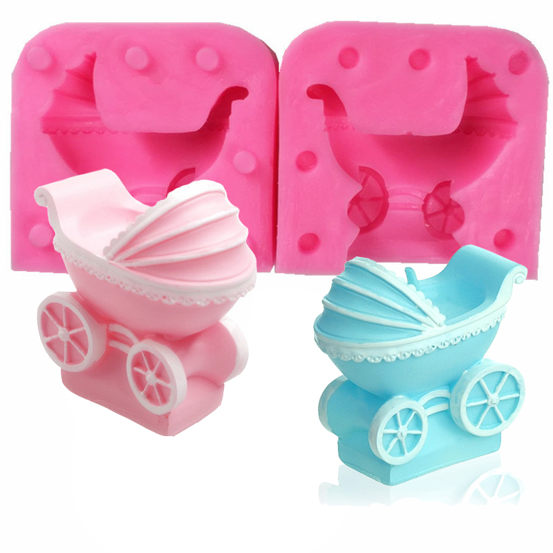 2pcs Hand Made DIY Silicone Mold Soap Mold Baby Carriage Car Ice Jelly Chocolate Cake Decoration Craft Art Candle Molds