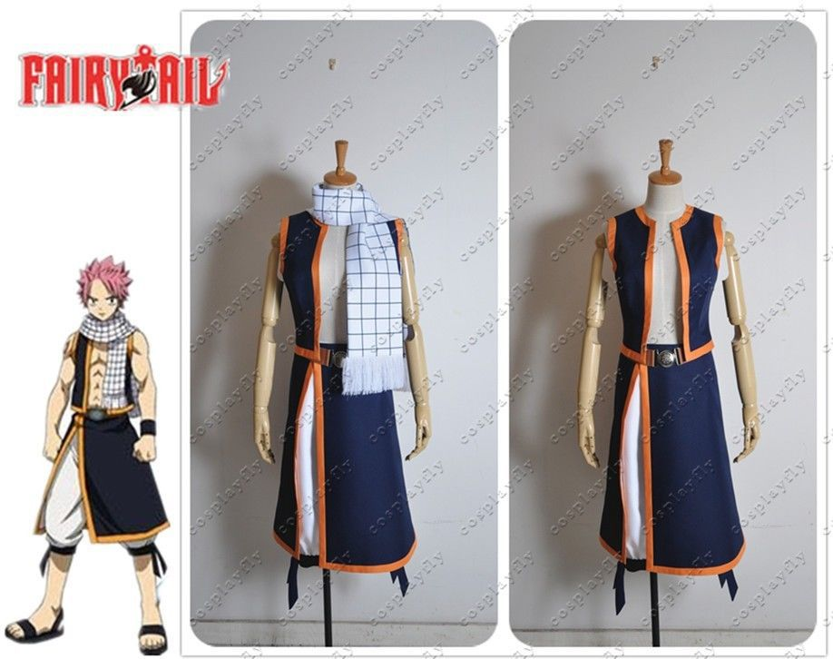 Free Shipping Fairy Tail Natsu Dragneel Cosplay Costume Custom Made Any Size  Outfit Clothing For Adult  (C0301)