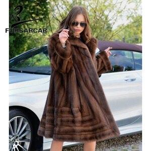 FURSARCAR 2020 роскошное натуральное коричневое Норковое меховое пальто, женское длинное зимнее меховое пальто из натуральной кожи, женское нату...