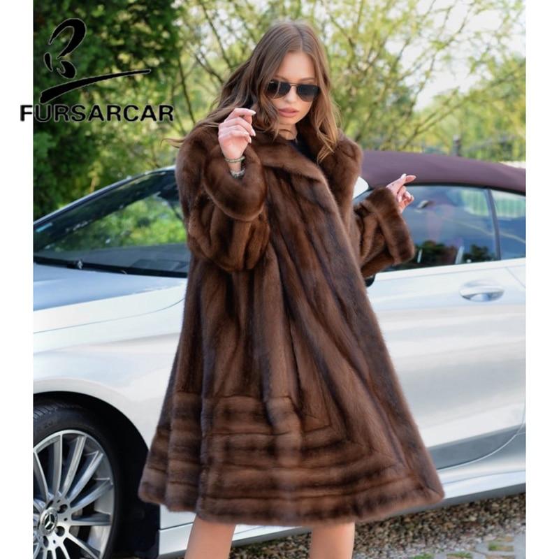 FURSARCAR New Arrivals Real Mink Fur Coat Women 100 CM Long Genuine Leather Winter Fur Jacket Luxury Female Mink Fur Coat
