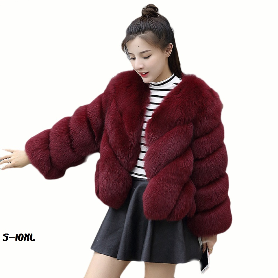 Fur coat artificial fur lady warm 2018 new short Korean version of winter coat fox fur coat size size fur coat from faux S 10XL in Faux Fur from Women 39 s Clothing