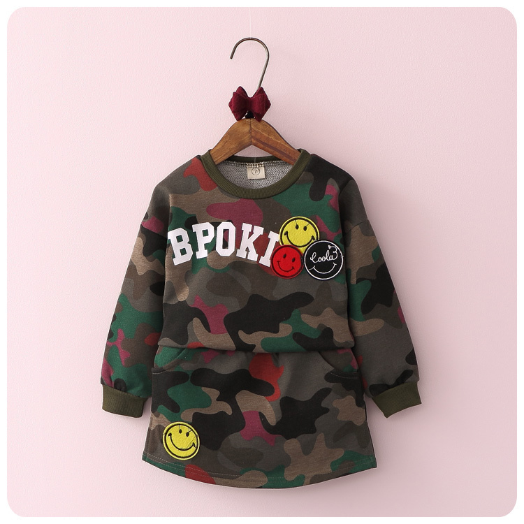 2016 Autumn New Pattern 2 Pieces Korean Girl Children's Garment Baby Letter Camouflage Sweater T-Shirt Short Skirt Fashion Suit new hot sale 2016 korean style boy autumn and spring baby boy short sleeve t shirt children fashion tees t shirt ages