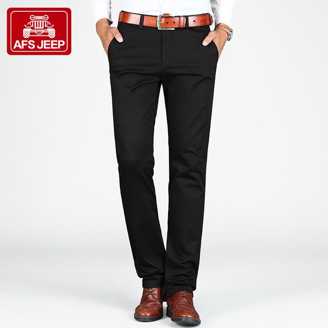 AFS JEEP Marca Pantalones de Algodón de Marca para Hombre Pantalones Slim Taper Calidad Modern Casual Pantalones Hombre Masculina Sociales